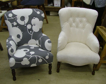 Image of a chair reupholstered by Caroline Rance